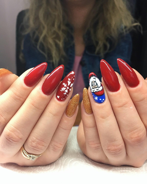 mikołaj - świąteczne paznokcie